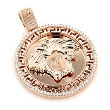 14k gold versace style diamond pendant medusa medallion 0 62ct main image