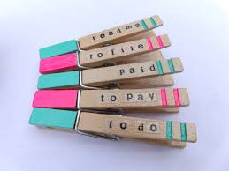 office paper holders. Clothespins Office Paper Holders With Words. Supplies. Desk Hand-painted