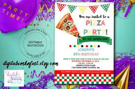 Pizza Party Invitation Templates Pizza Party Invitation Template Etsy