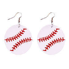 details about 2018 new round baseball genuine leather earrings for women sport fashion jewelry