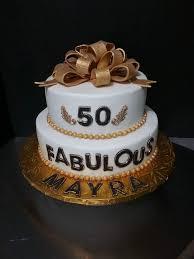 Two Tier 50th Birthday Cake Mahalaxmibakers