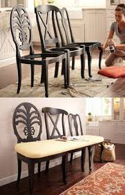 upcycling old furniture is a great way to avoid purchasing something new here are some great ideas to transform those old chairs into a beautiful bench