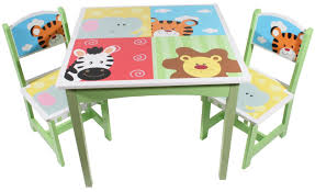 painted wooden kids table and chairs set with animal theme marvelous kids wooden table and