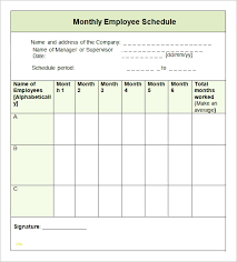 Sample Work Schedule For Employees Luxury Monthly Employee Schedule Template Best Sample Excellent