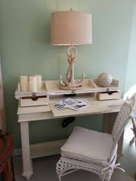 ... Coastal Lightly Distressed Spinet Style Writing Desk