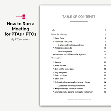 Meet And Greet Meeting Agenda How To Run A Pto Meeting Ebook For Pto Presidents Pta