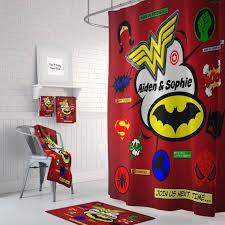 personalized super hero comic book shower curtain optional bath bath towels mat bathroom set