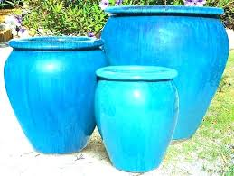 outdoor ceramic pots planters large planter for blue glazed