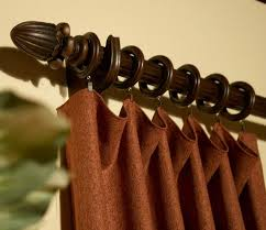 custom wide flowing panel curtain group 1 with wood curtain rod with rings