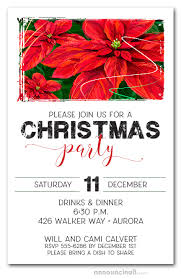 Christmas Holiday Invitations Red Poinsettias Holiday Invitations