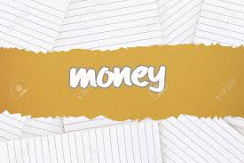 Lined Paper Word The Word Money Against Lined Paper Strewn Over Surface Stock Photo