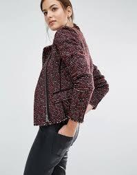 boss orange by hugo boss okarli boucle tweed look side zip jacket womens jacket s