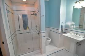 palatial white vinyl wainscoting ideas for modern bathroom wall decors combine with blue wall color painting schemes also modern walk in shower pictures