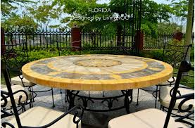 49 63 round marble stone top patio outdoor mosaic table florida