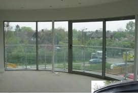 curved toughened glass windows in office building