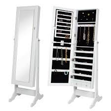 mirror armoire. mirrored jewelry cabinet armoire w/ stand mirror rings, necklaces, bracelets - walmart.com o