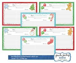 Christmas Recipe Card Printable Christmas Recipe Cards Christmas Cookie Watercolor Etsy