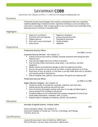Recovery Officer Sample Resume Embassy Security Guard Sample Resume shalomhouseus 71