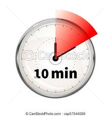 10 Minuite Timer Realistic Clock Face With Ten Minutes Timer On White