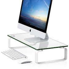 fitueyes tempered glass computer monitor riser multi media desktop stand dt106004gw by fitueyes for homeware in australia