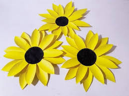 Cut Flower Chart How To Make Sunflower From Chart Paper L Very Easy To Make L Paper Craft Ideas L 2017