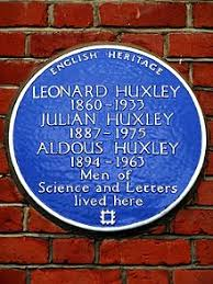 aldous huxley english heritage blue plaque at 16 bracknell gardens hampstead london commemorating aldous his brother julian and father leonard