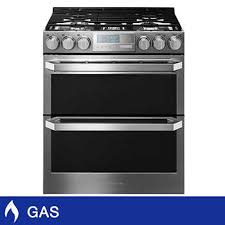 gas range. LG SIGNATURE 6.9CuFt Gas Double Oven Slide-In Range With ProBake Convection O