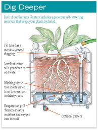 self watering garden bed. Simple Bed Illustration Of How The Selfwatering Feature Functions With Planter Intended Self Watering Garden Bed R