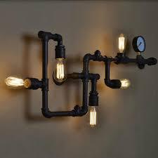 ecolight vintage wall lamp 5 light e26 e27 sockets black painting water pipe iron wall light
