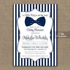 Description. Elegant navy blue and silver glitter baby shower invitation  with a chunky blue bow tie.