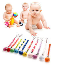 Wooden <b>Baby</b> Kids <b>Pacifier Clip Chain</b> Holder Nipple Leash Strap ...