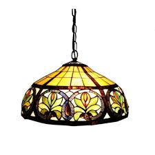 warehouse of tiffany 2 light antique bronze hanging pendant with classic stained glass