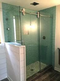 glass shower wall panels half wall shower glass barn door with half wall coloured glass shower