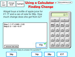 using a calculator finding change