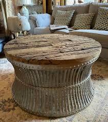 round coffee table industrial vintage