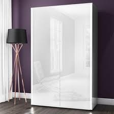 selena white high gloss 2 door wardrobe