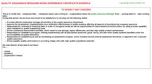 Qa Manager Cover Letter Sample Quality Assurance Manager Job Experience Letters