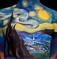 van gogh starry night body painting