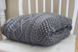 Gray Cable Knit Throw Blanket