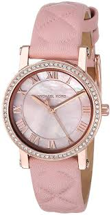 com michael kors women s stainless steel og quartz watch with leather calfskin strap pink 14 model mk2683 watches