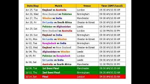 Asia Cup Chart World Cup 2019 Schedule Time Table Cricket