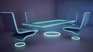 neon furniture. Futuristic Office Furniture 3D Model Neon H