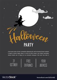 008 Halloween Party Invitation Template Scary Witch Vector