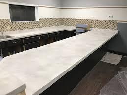White Concrete Overlay Countertops