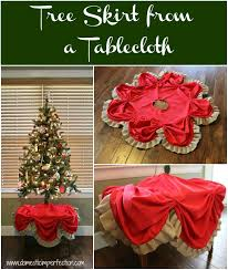 Tutorial on making a Christmas tree skirt from a table cloth and burlap  ribbon