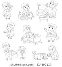 put on clothes clipart black and white. Perfect And Daily Routine Child Is Combing His Hair Boy Washes Dishes Kid Putting For Put On Clothes Clipart Black And White