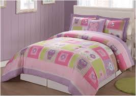 girl twin bedding set with cute owl and flowers motif