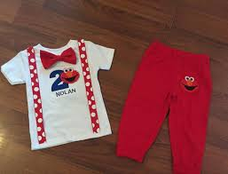 Elmo 2nd Birthday Elmo Boy Birthday Outfit Baby Boy Second Etsy