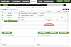 Trip Itinerary Builder Building An Itinerary In Wetu Old Itinerary Builder Wetu