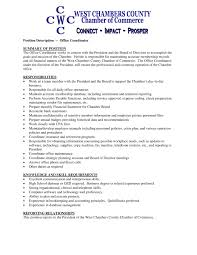office coordinator resume description cipanewsletter job description office manager chamber of commerce cover